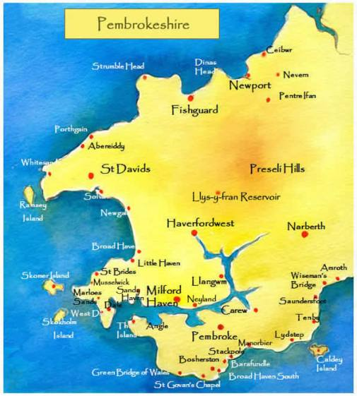 pembs map showing Llangwm